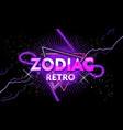 retro zodiac banner with neon light vector image vector image
