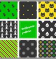set of halloween seamless pattern flat design vector image vector image