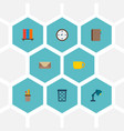 set of office icons flat style symbols with vector image vector image