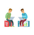 shopping online purchases on websites in internet vector image vector image
