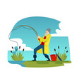 surprised fisherman reeling a blue fish out of vector image vector image