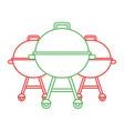 three grill equipment preparation food vector image