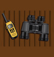 walkie-talkie and binoculars vector image vector image