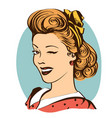 winking young woman in retro clothes isolated on vector image