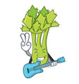 with guitar celery mascot cartoon style vector image vector image