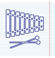 xylophone sign navy line icon on notebook vector image vector image