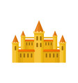 yellow castle with orange roof high towers and vector image vector image