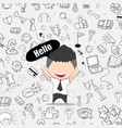 happy face businessman business doodles objects vector image