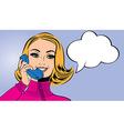 pop art cute retro woman in comics style talking vector image