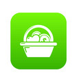 basket donate icon green vector image