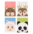 bear and deer sheep and panda vector image vector image
