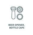 beer opener bottle caps line icon beer vector image