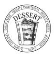 best dessert round vintage label vector image vector image