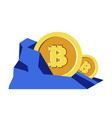 bitcoins mining cryptocurrency in rock digital vector image vector image