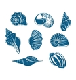 Blue shells and mussels set vector image vector image