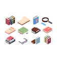 book reading set encyclopedia and textbooks with vector image