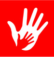 Caring hand on red background vector image vector image