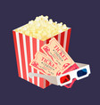 cinema tickets for two popcorn package glasses vector image vector image