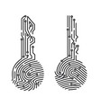 circuit fingerprint key security system user vector image vector image