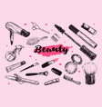 cosmetics and beauty background vector image