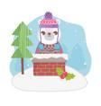 cute polar bear in chimney tree merry christmas vector image vector image