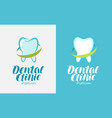 dental clinic logo tooth icon or symbol vector image vector image