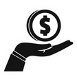 donate money in hand icon simple style vector image