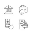e-payment linear icons set vector image