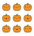 halloween kawaii cute pumpkin icons isolated vector image