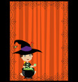 halloween of cute wizard boy in witch costume vector image