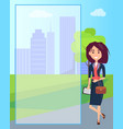 happy smiling business woman multicolored poster vector image vector image