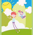 happy valentines day young man and flying cupid vector image