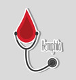 hemophilia blood drop and stethoscope campaign vector image