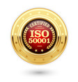 iso 50001 certified medal - energy management vector image vector image