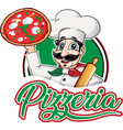 italian chef emblem with pizza margherita vector image vector image