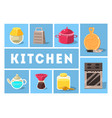kitchen tools set kitchenware collection cooking vector image