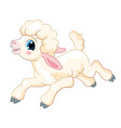 little cute funny character running lamb vector image vector image