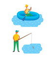 male fishing in lake swimming in river at boat vector image vector image
