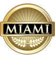 miami gold label vector image vector image