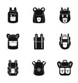 mountain backpack icon set simple style vector image vector image