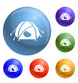 mountain climb tent icons set vector image