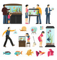 people and aquaria set vector image vector image