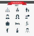 person icons set with subordination sleeping vector image