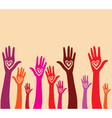 Raised hand with hear vector image vector image