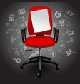 red business chair with notice paper sheet on vector image