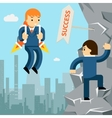 Rise to success Businessman with rocket vector image vector image