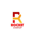 rocket start up emblem vector image