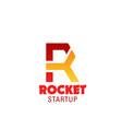 rocket start up emblem vector image vector image