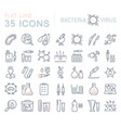 set flat line icons bacteria and virus vector image vector image