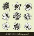 Set of grungy flowers vector | Price: 1 Credit (USD $1)
